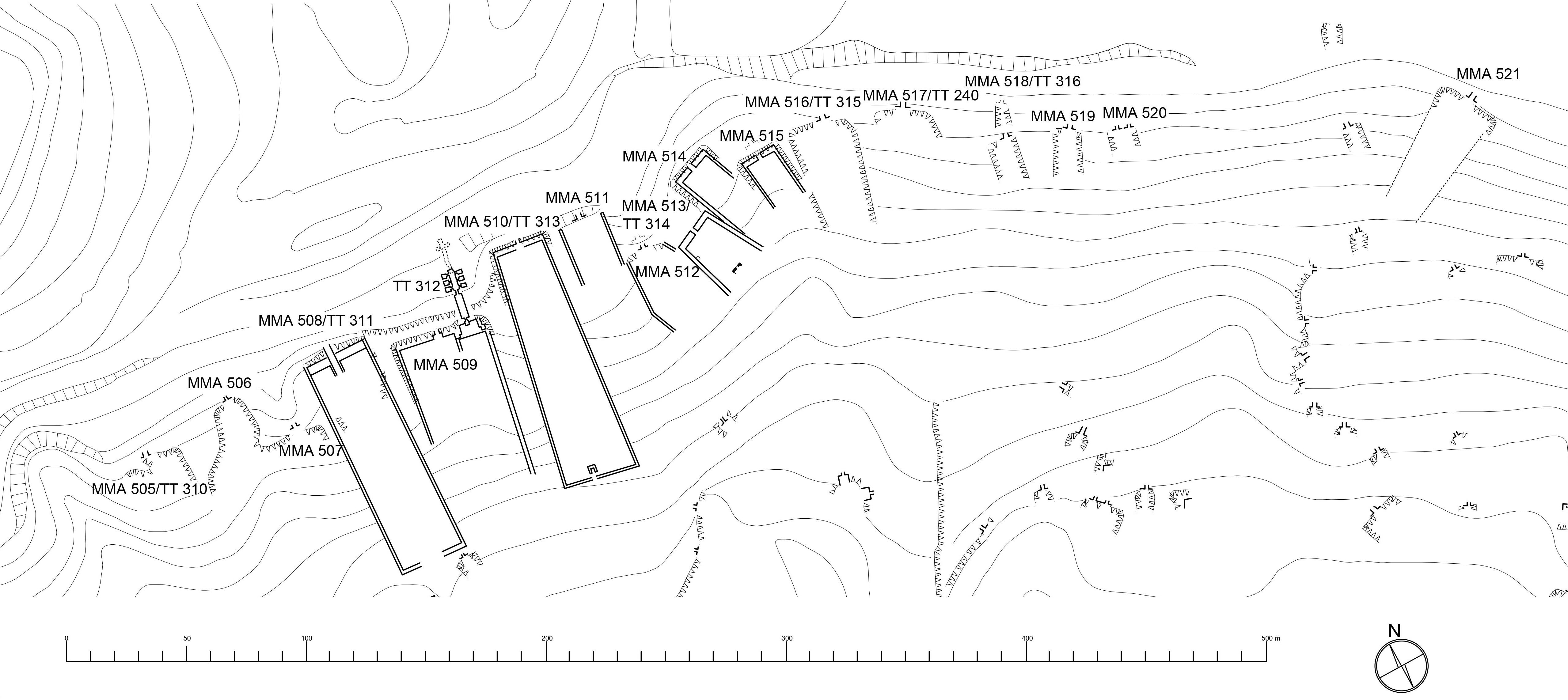 Fig. 1. Plan nekropoli Asasif Północny (rys. K. Andraka).