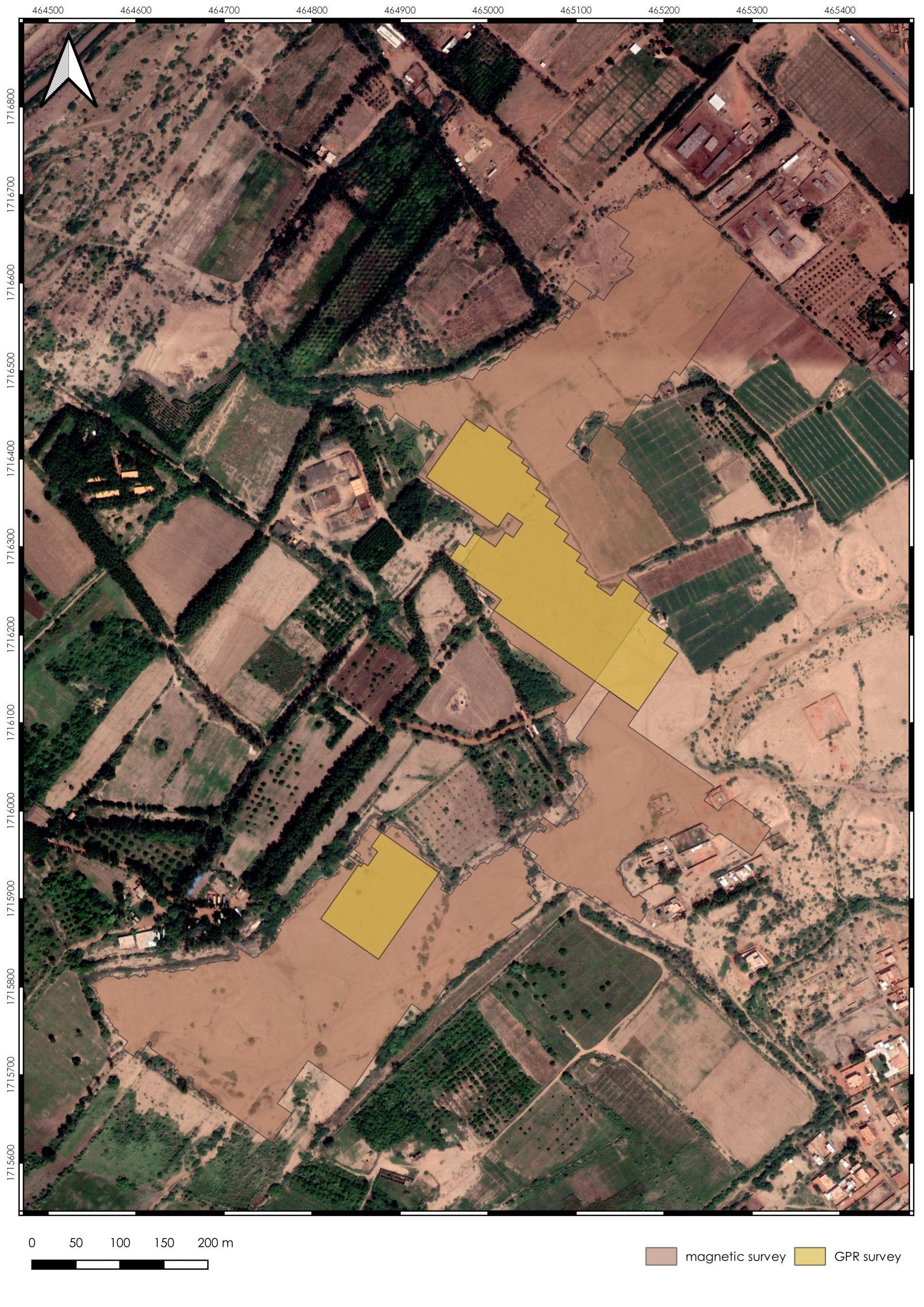 il. 2. Lokalizacja badań geofizycznych w Soba; jasnoczerwony – metoda magnetyczna, żółty – metoda georadarowa (opr. R. Ryndziewicz)