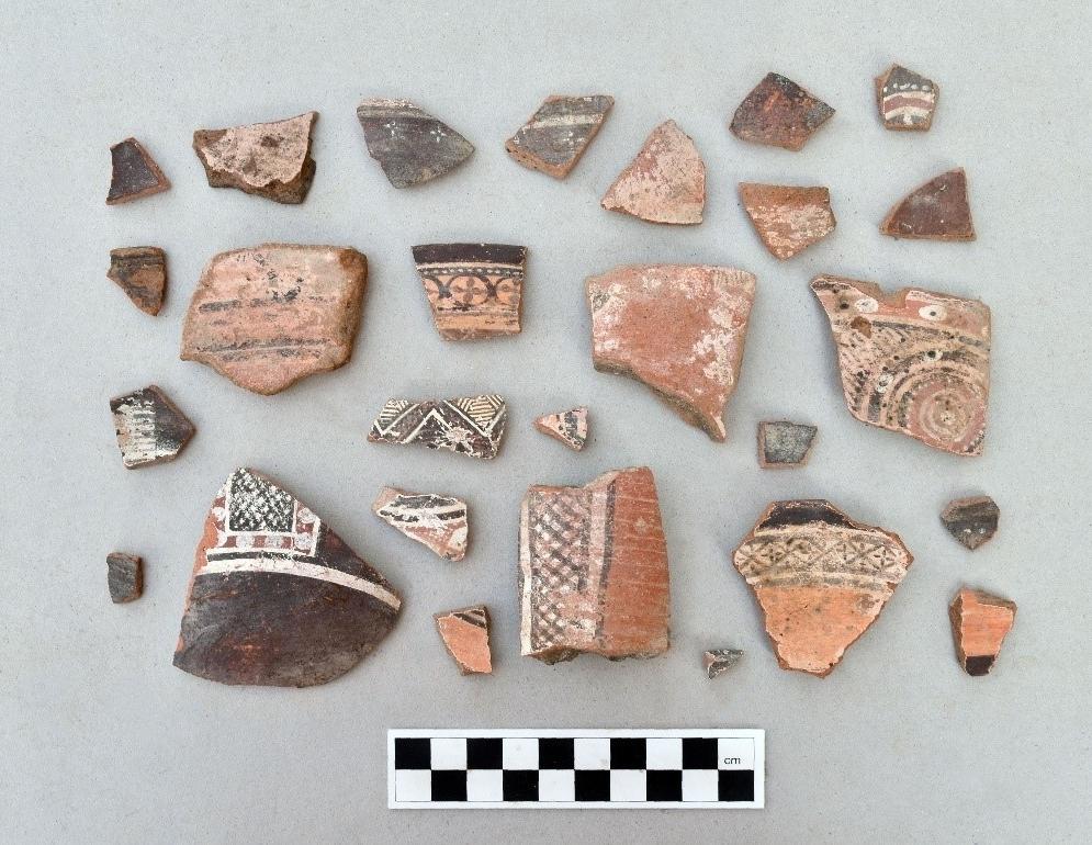 il. 4. Fragmenty ceramiki malowanej z wykopu 1/CW (fot. J. Ciesielska)